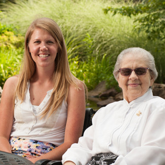 As SisterStory participants, Samantha Gildehaus '15 (left) and Sister Lillian Bauman, CSJ, spent months getting to know one another, a relationship led to a recorded interview — and a lifelong friendship.