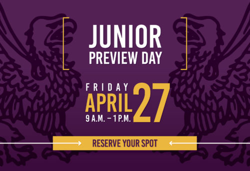 Pop-up banner: Junior Preview Day, April 27, 2018