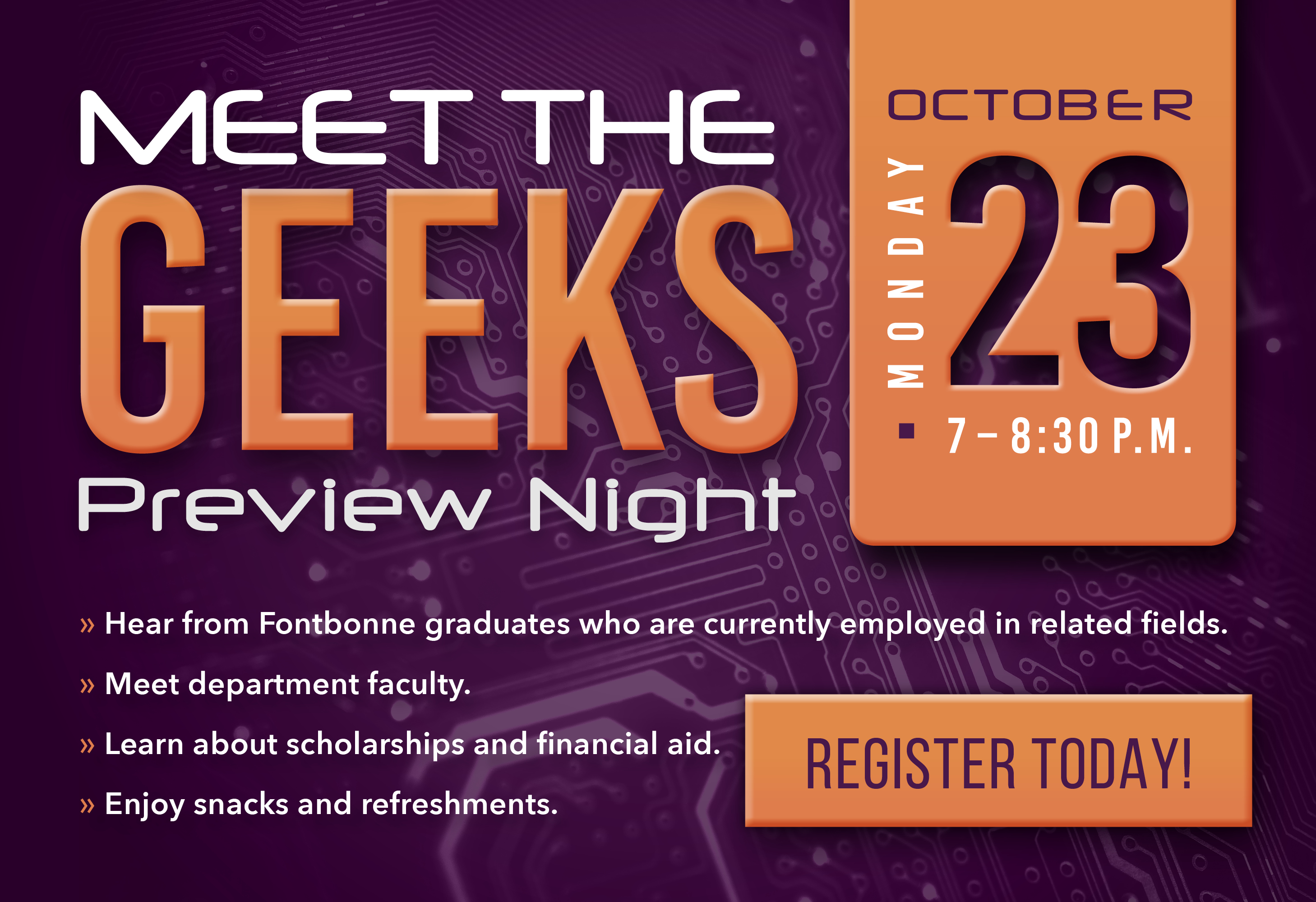 Meet the Geeks on Oct. 23.