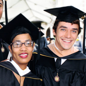 Fontbonne students in caps and gowns