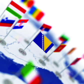 Bosnian flag and map