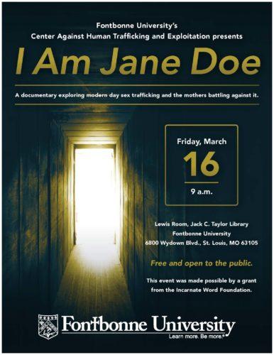 """""""I Am Jane Doe"""" event flier"""