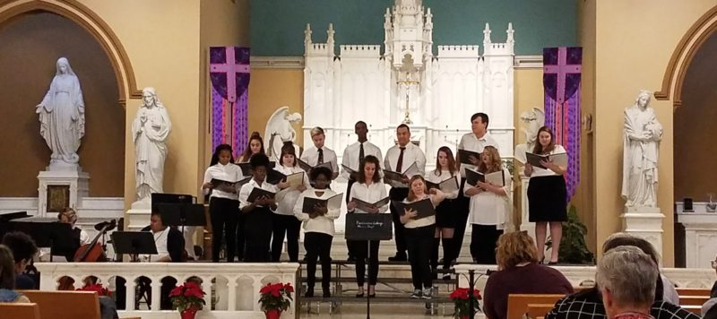A photo of the Fontbonne University choir Christmas concert in Dec. 2018 in Doerr Chapel on campus.