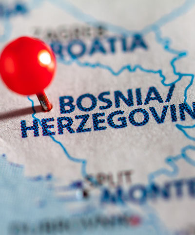 Map of Bosnia.