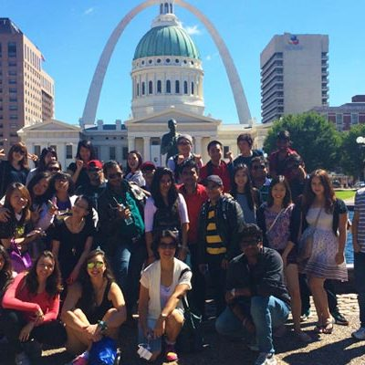 Group of international students in downtown St. Louis.