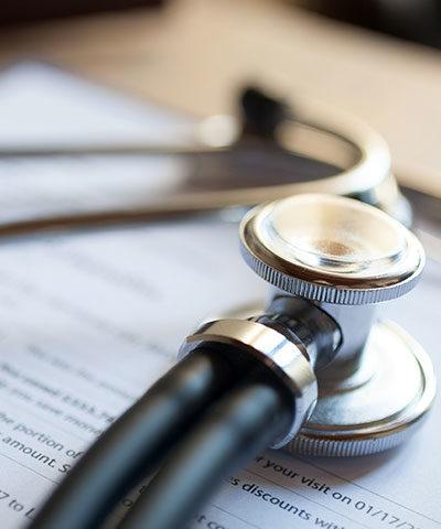 Closeup of stethoscope.