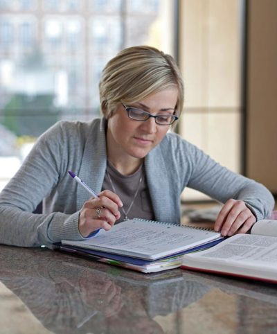 Female student studying.