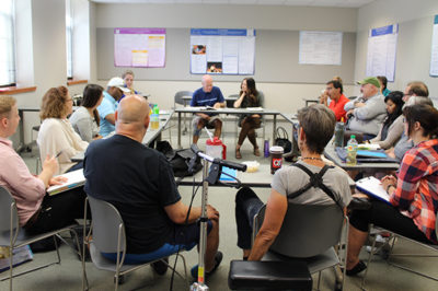 Group of people participating in Aphasia Boot Camp.
