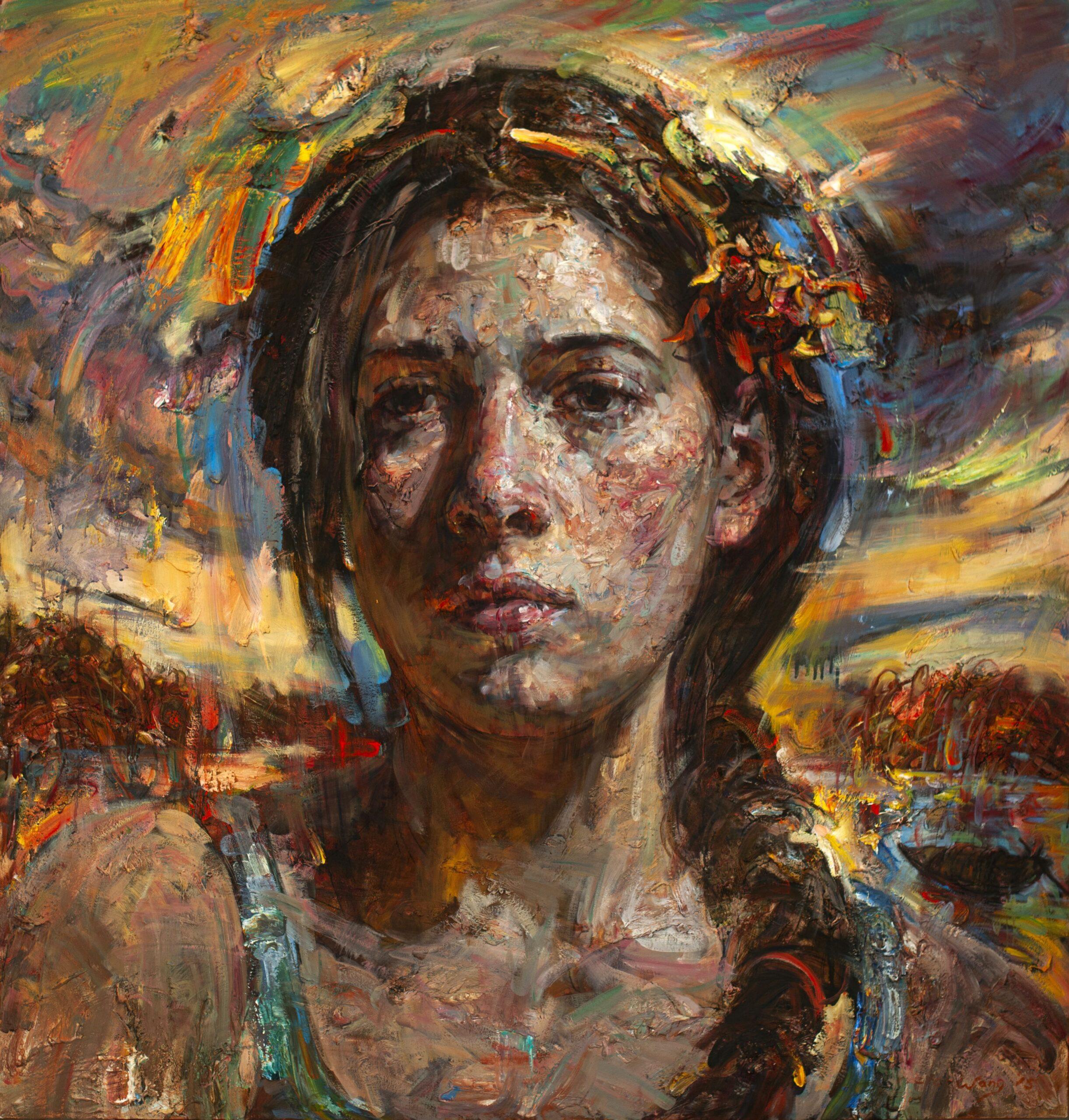 painted impressionist portrait of woman